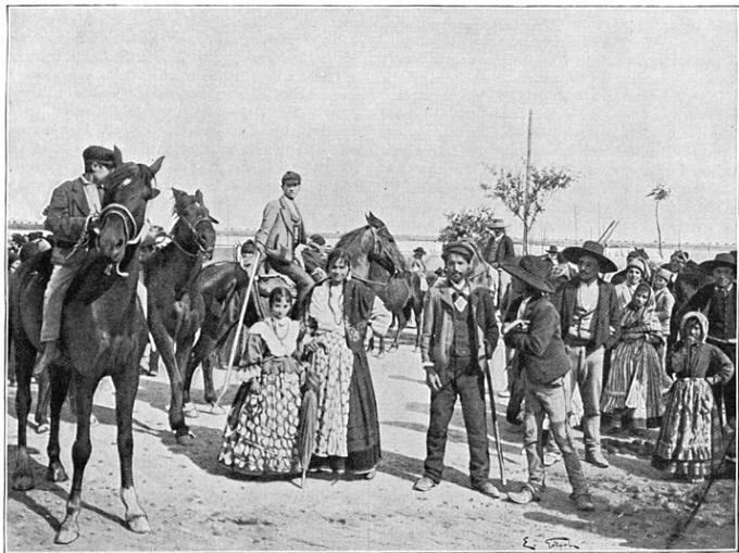 Boeren en boerinnen uit Estramadura.